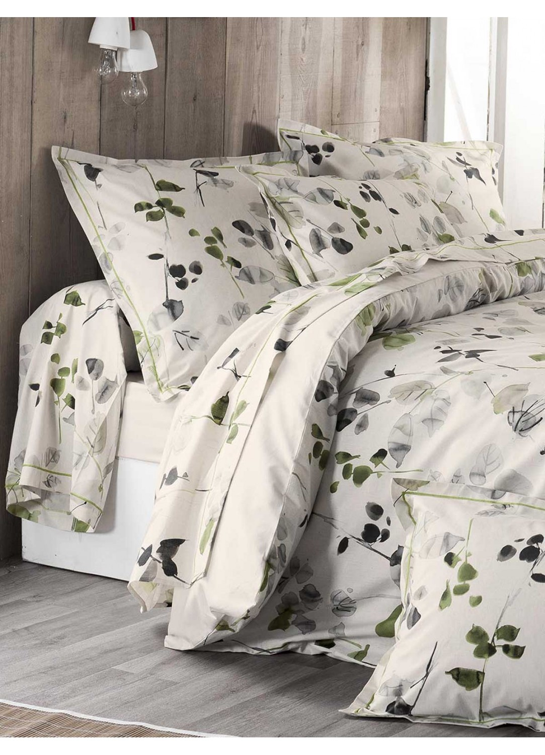 parure de draps 4 pi ces nature et feuillages ecru homemaison vente en ligne parures de lit. Black Bedroom Furniture Sets. Home Design Ideas