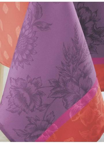Nappe Ovale aux Notes Florales - Carmin - 180 x 240 cm