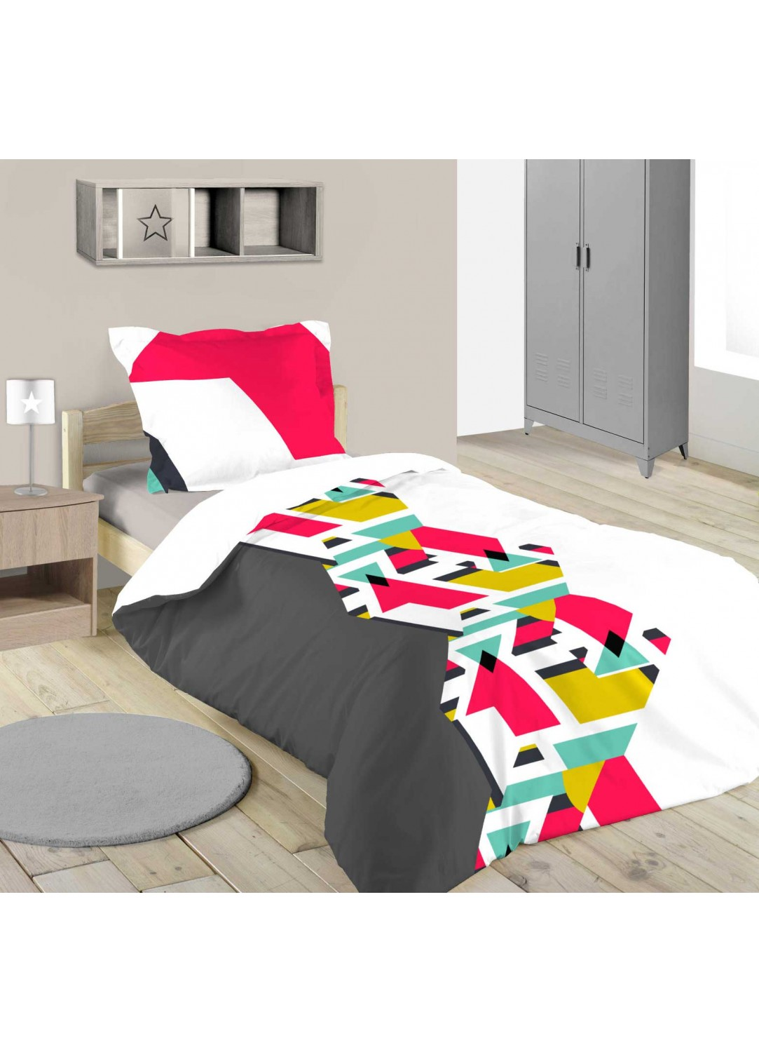 parure de lit graphique et color e multicolore homemaison vente en ligne parures de lit. Black Bedroom Furniture Sets. Home Design Ideas