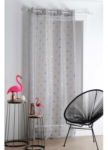 Voilage aux Multiples Flamants Roses - Anthracite - 140 x 260 cm