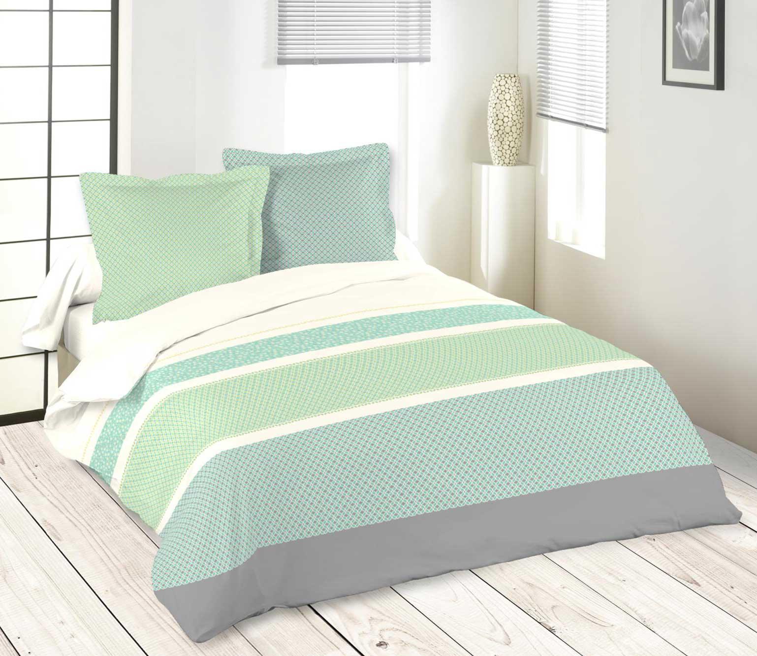 parure de lit graphique rayures vert homemaison. Black Bedroom Furniture Sets. Home Design Ideas