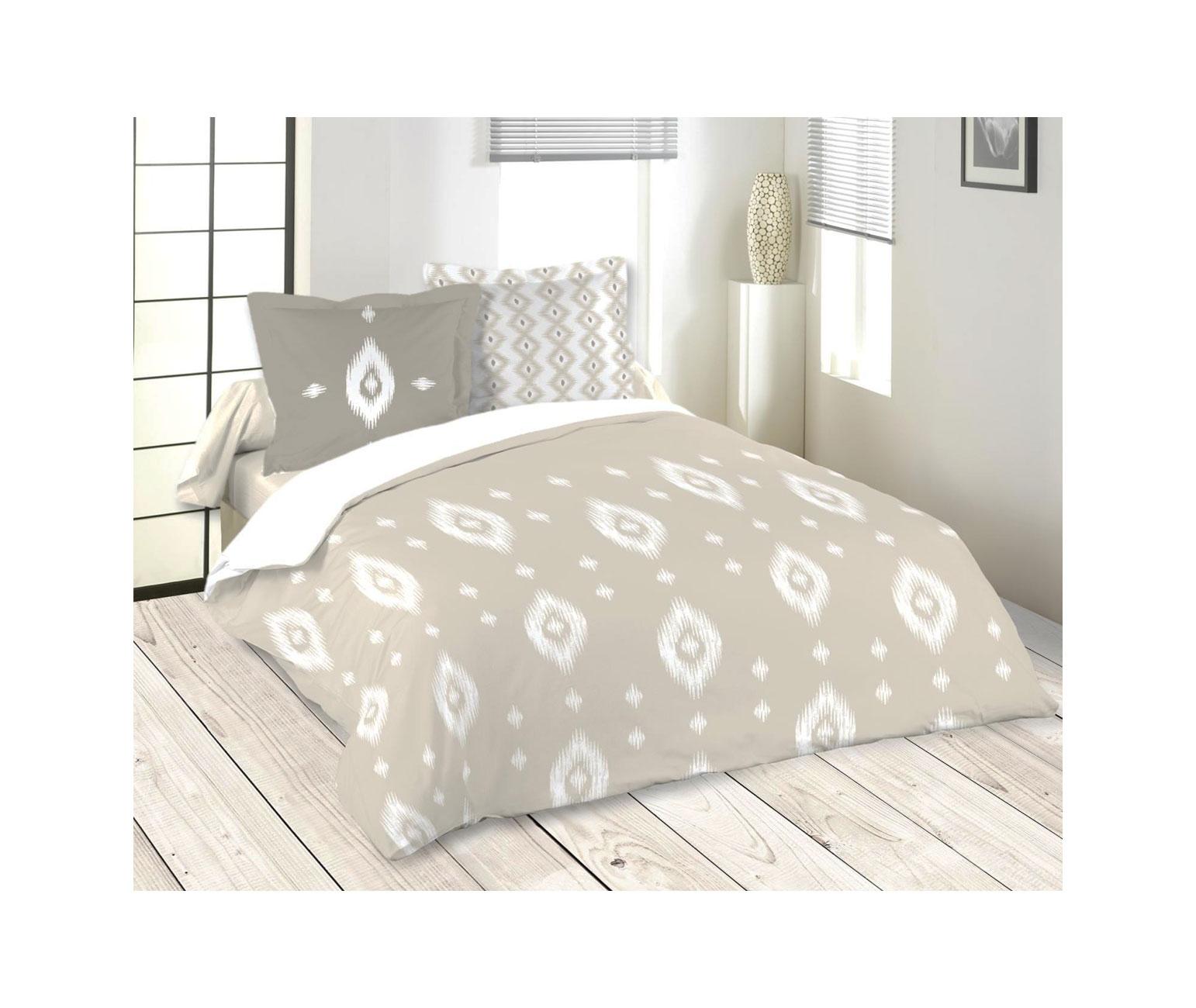 parure de lit esprit ethnique beige homemaison. Black Bedroom Furniture Sets. Home Design Ideas