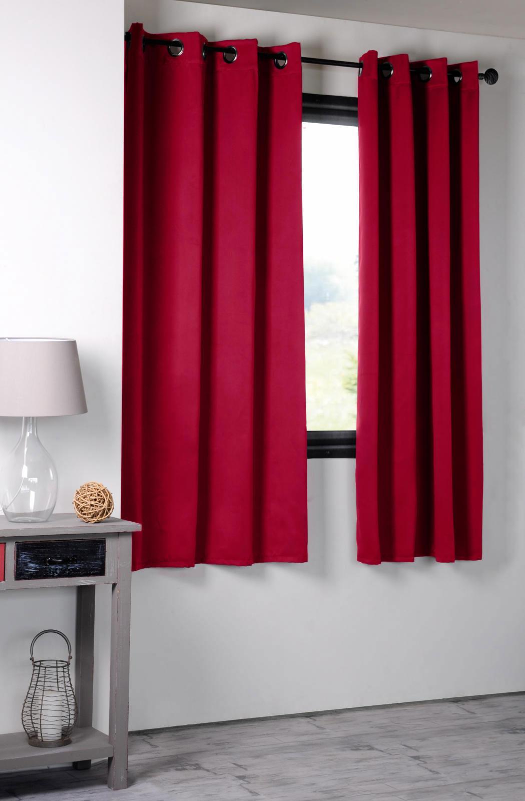rideau occultant uni 210gr m2 rouge moutarde olive corail anis mauve canard. Black Bedroom Furniture Sets. Home Design Ideas
