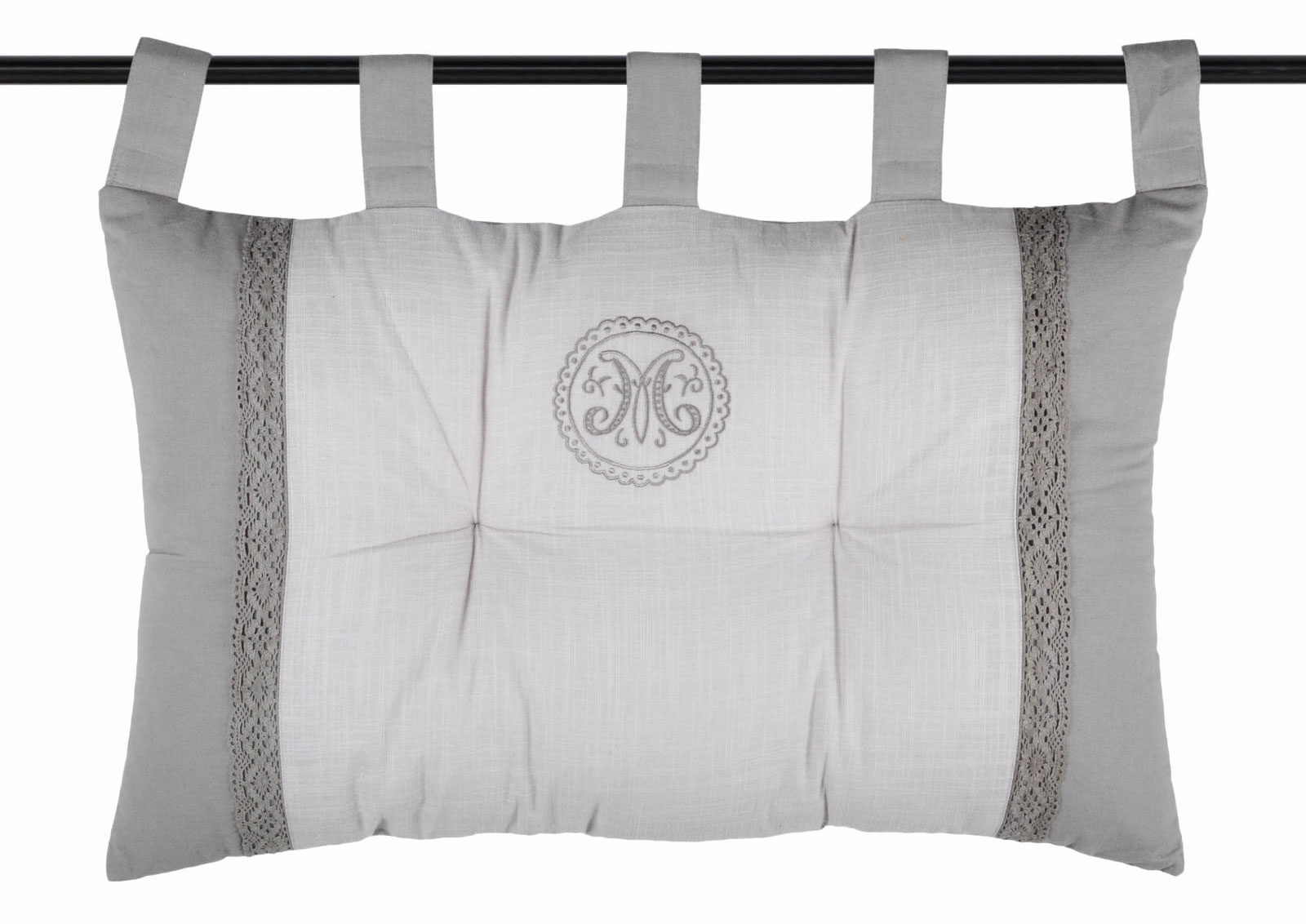 t te de lit esprit charme classique gris homemaison vente en ligne coussins t te de lit. Black Bedroom Furniture Sets. Home Design Ideas