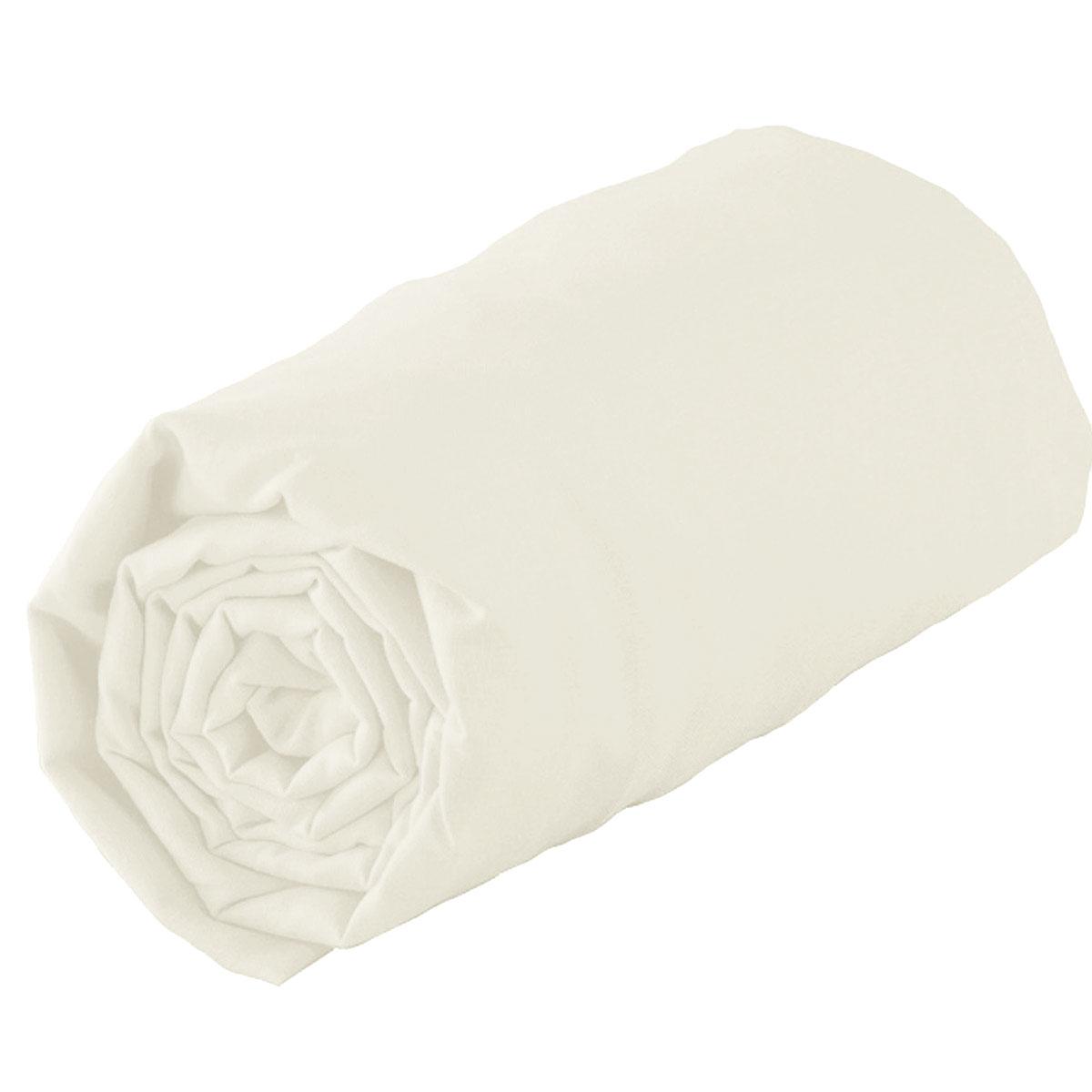 Drap Housse Uni en 100% Coton (Blanc)