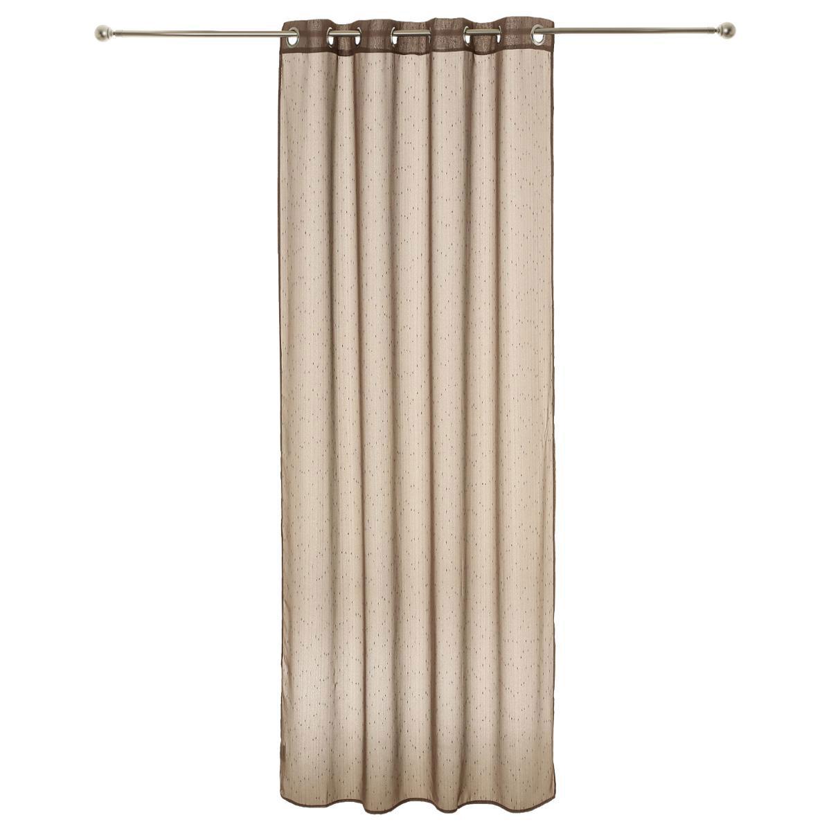voilage fines rayures tiss es taupe gris homemaison vente en ligne voilages. Black Bedroom Furniture Sets. Home Design Ideas