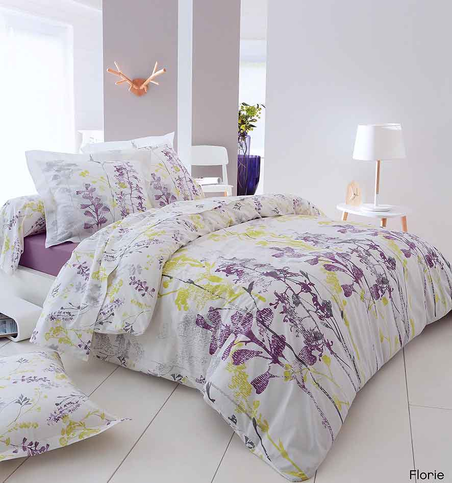 parure drap florie blanc violet vert homemaison vente en ligne parures de lit. Black Bedroom Furniture Sets. Home Design Ideas