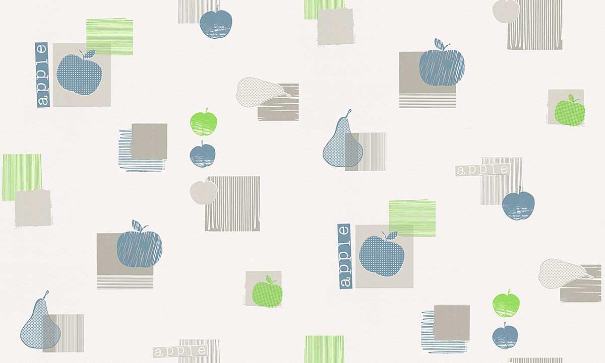Papier Peint de Cuisine Pomme - Vert/Bleu - 10 ml x 0,53 m