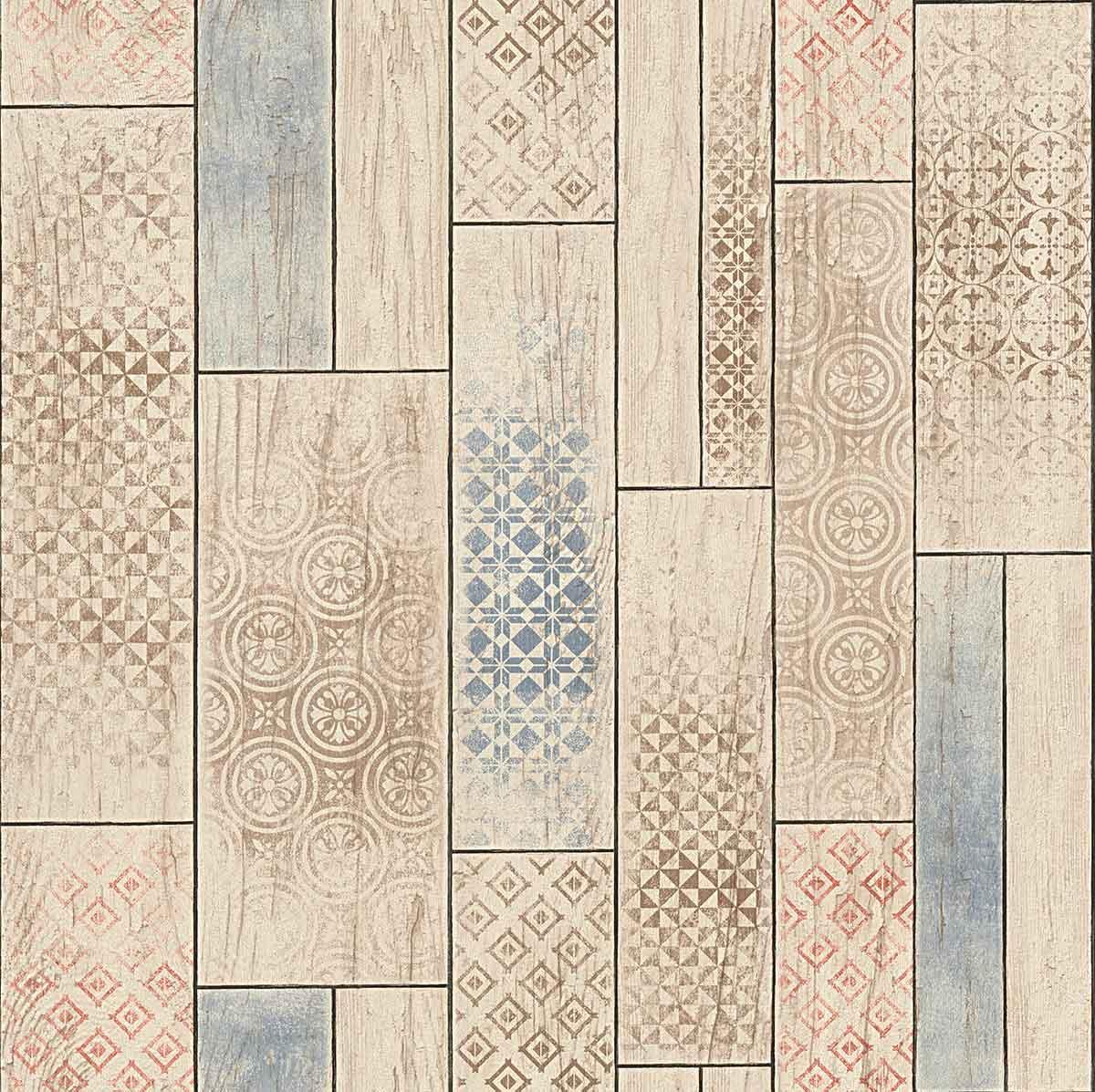 papier peint imitation lambris motifs azuleros rouge. Black Bedroom Furniture Sets. Home Design Ideas