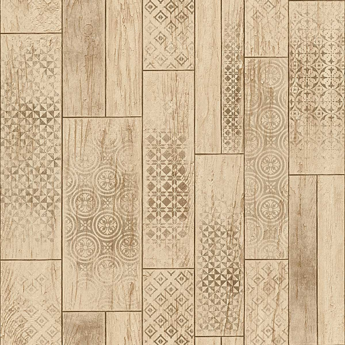 papier peint imitation lambris motifs azuleros marron. Black Bedroom Furniture Sets. Home Design Ideas