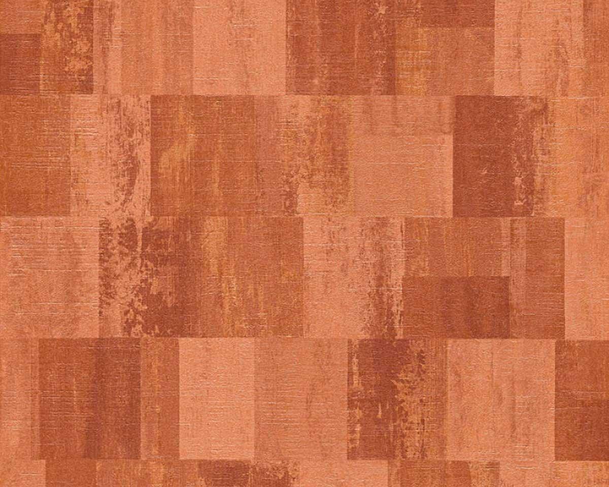 Papier Peint Carrés Entremêlés - Terracotta - 10 ml x 0,53 m