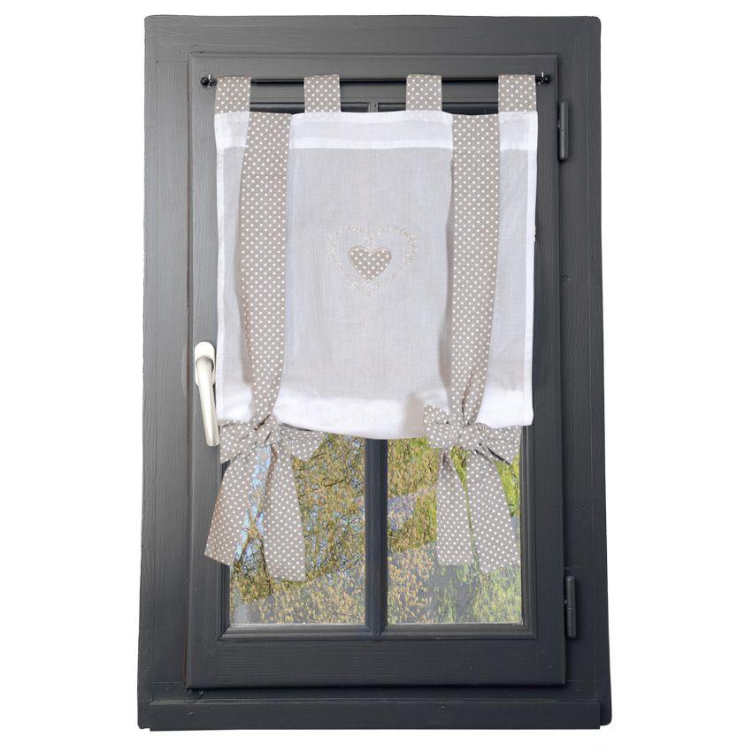 vitrage relevable coeur brod ecru lin homemaison. Black Bedroom Furniture Sets. Home Design Ideas