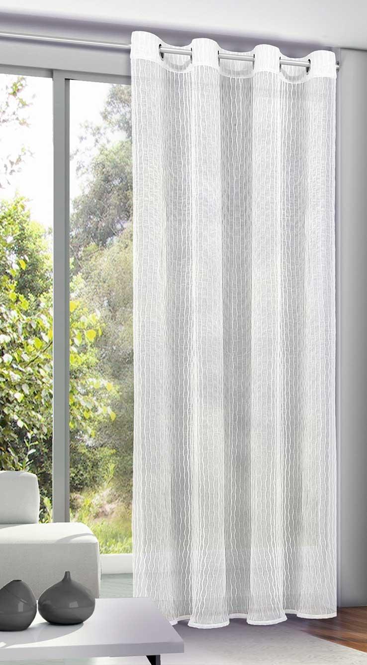 Rideau Uni en Voile Froissé - Blanc - 135 x 245 cm