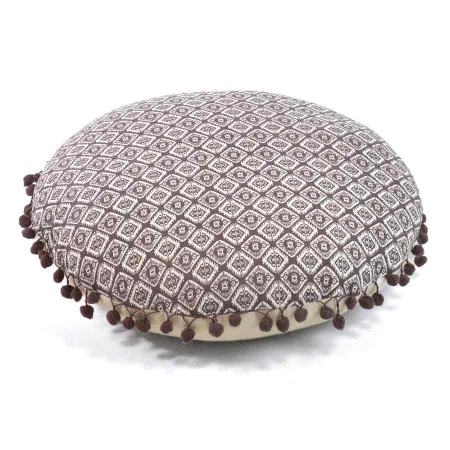 coussin rond avec guirlande de pompons parme ivoire bleu kaki homemaison vente en. Black Bedroom Furniture Sets. Home Design Ideas