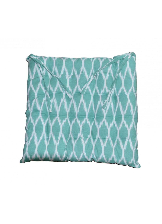 Galette de Chaise Imprimée Bicolore (Turquoise)