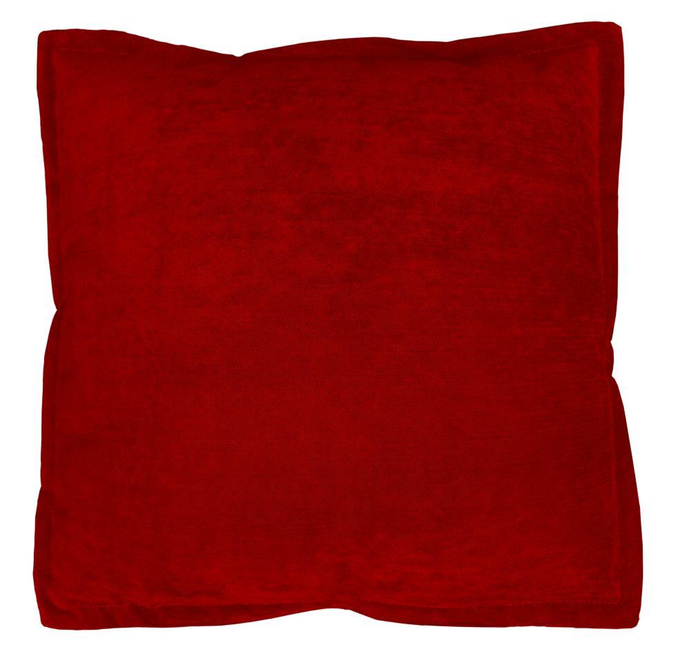 Coussin en Velours avec Volant Plat - Rouge - 40 x 40 cm