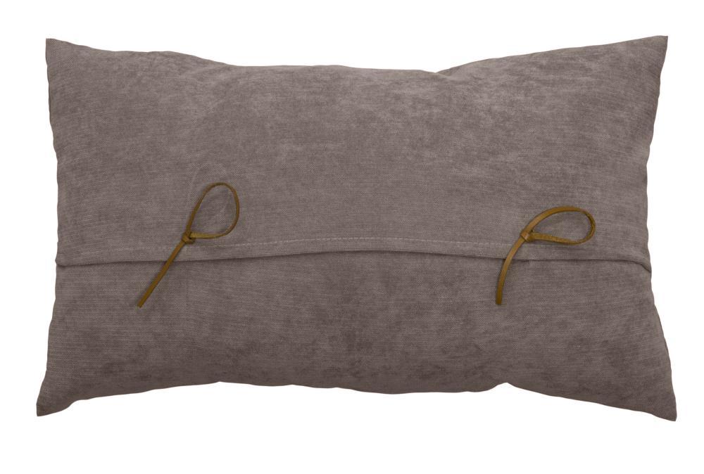 Coussin Rectangulaire avec Nuds Imitation Cuir - VISON - 30 x 50 cm