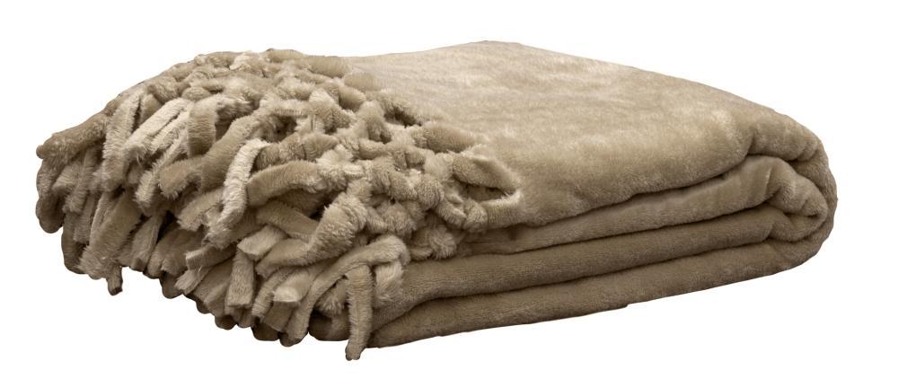Plaid Douillet avec Franges - Naturel - 130 x 180 cm