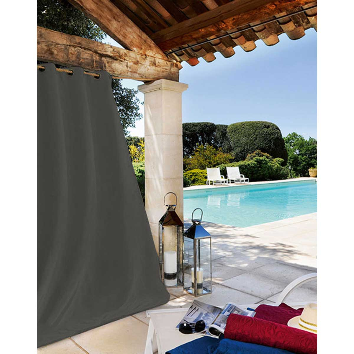 Rideau Extérieur Tissu Outdoor - Gris Foncé - 135 x 240 cm