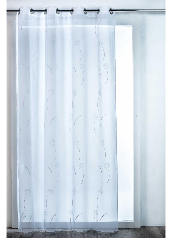 voilage osaka esprit floral gris blanc. Black Bedroom Furniture Sets. Home Design Ideas