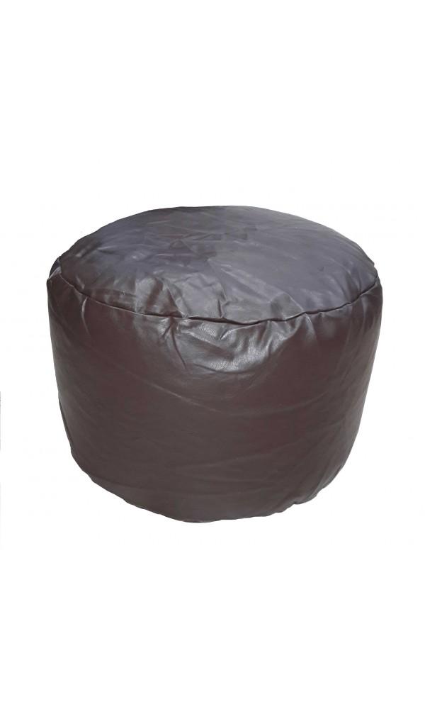 Pouf Rond en imitation Cuir - Chocolat - 30 x 50 cm