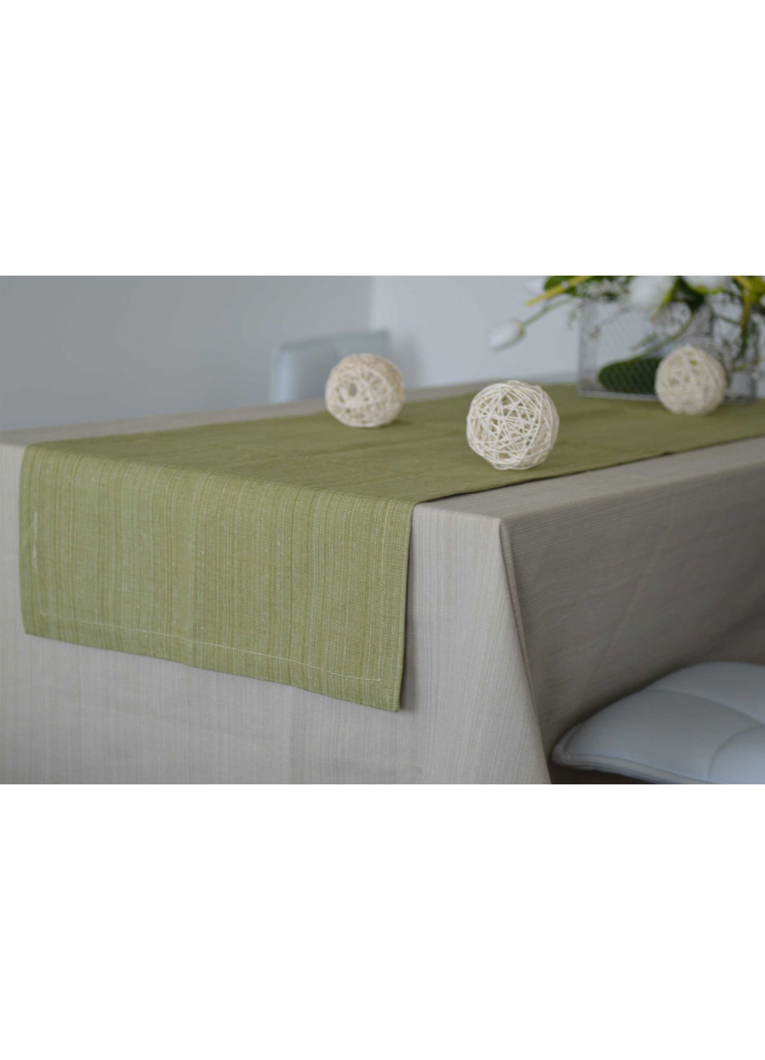 chemin de table en 100 coton biologique vert lin. Black Bedroom Furniture Sets. Home Design Ideas
