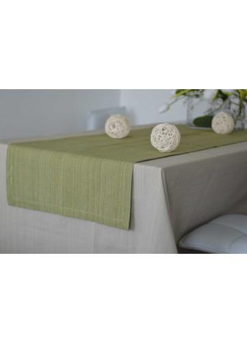 Chemin de Table en 100% Coton Biologique - Vert - 50 x 150 cm
