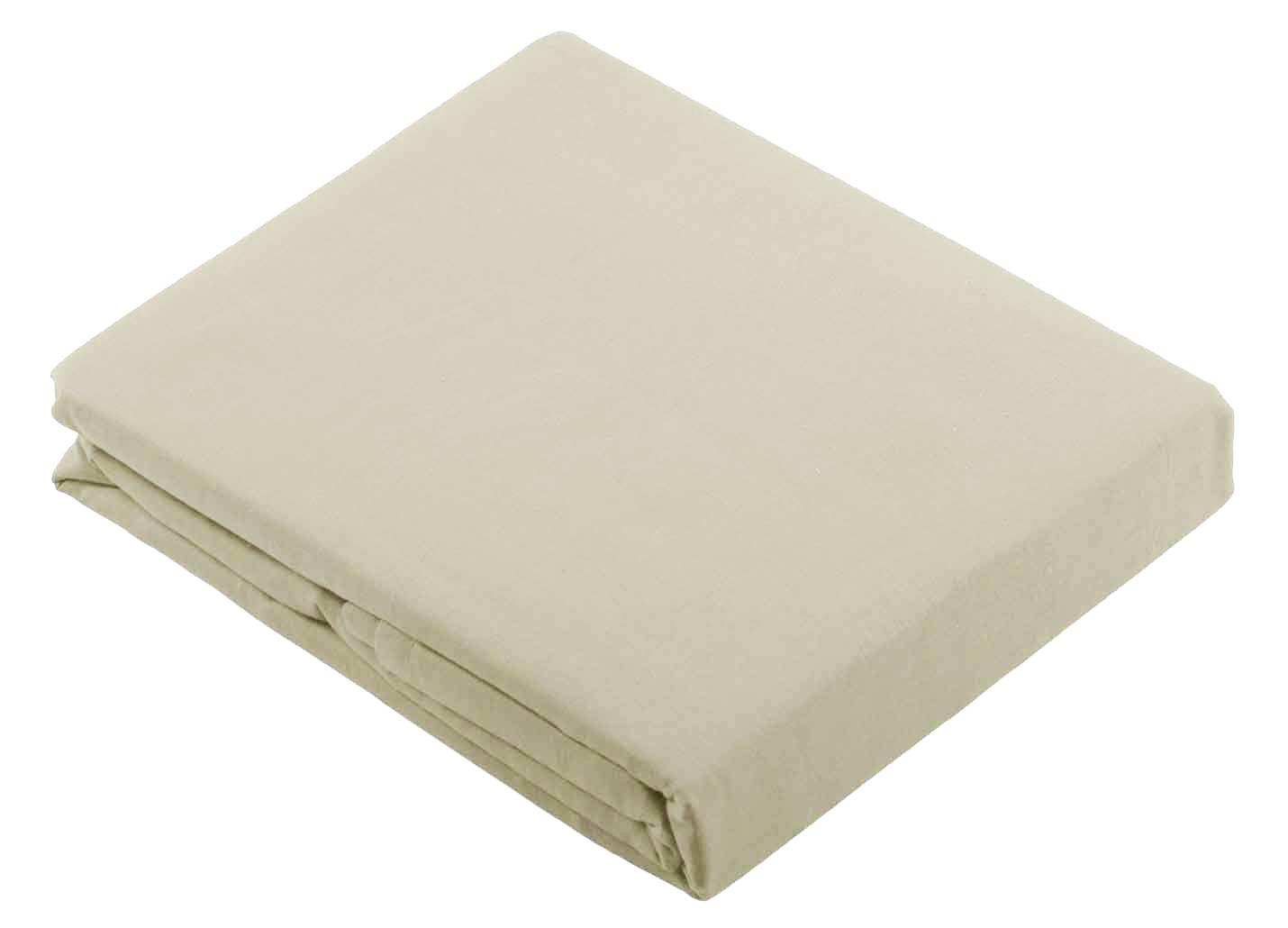 Drap Plat Uni en 100 % Coton - Ecru Lavé - 240 x 310 cm