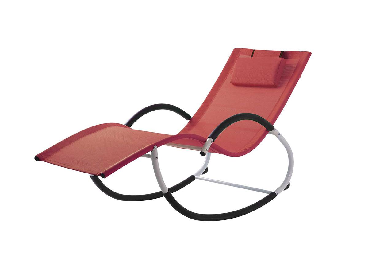 Rocking Chair en Acier et Textilène Coloré - Rouge - 155 x 65 x 83 cm