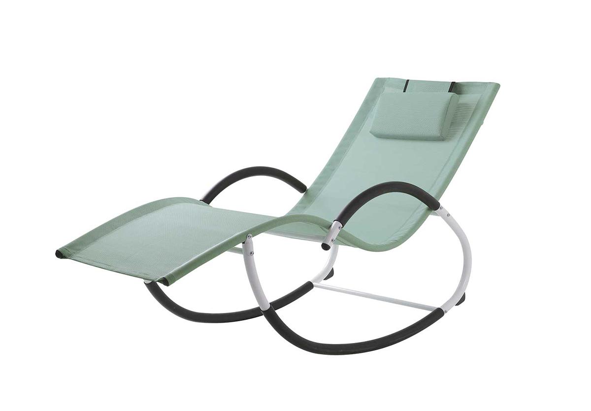 Rocking Chair en Acier et Textilène Coloré (Menthe)