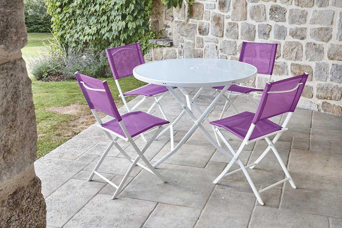 Ensemble de Jardin avec Table Ronde - Aubergine - D100 x 72 cm