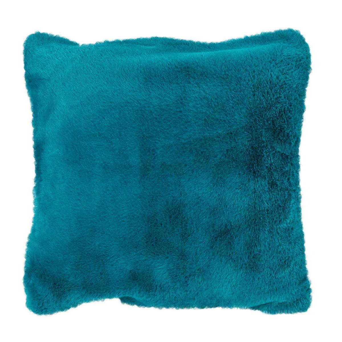 Housse de coussin en imitation fourrure (Bleu Paon)
