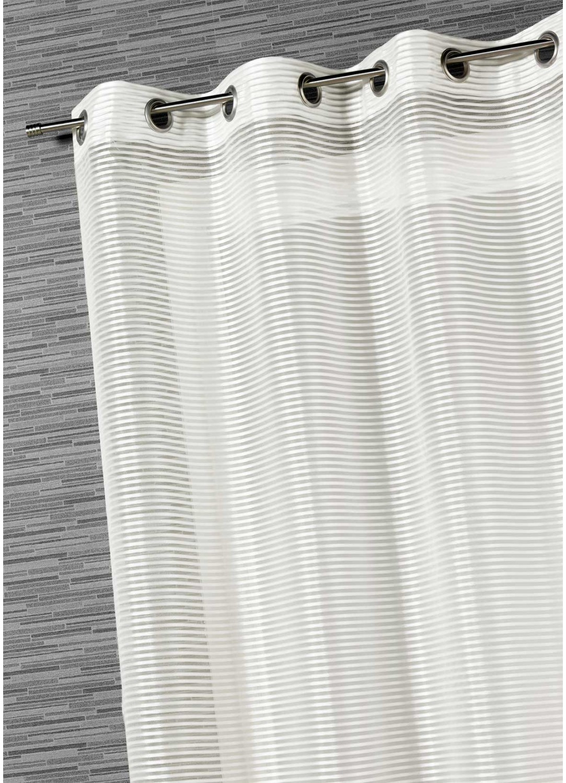 Voilage Organza Rayures Fantaisies (Blanc)