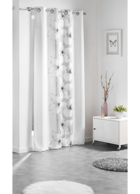 rideau oeillet avec bandeau fleuri blanc gris homemaison vente en ligne rideaux. Black Bedroom Furniture Sets. Home Design Ideas