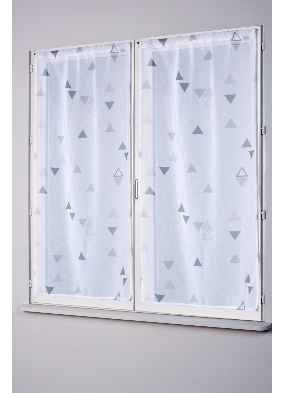 paire de petits vitrages impressions triangles gris homemaison vente en ligne petits. Black Bedroom Furniture Sets. Home Design Ideas