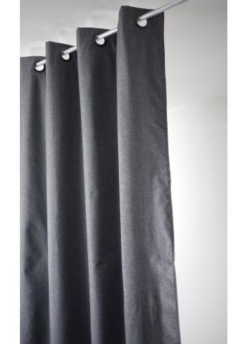Rideau uni Oxford 100 % occultant - Gris Foncé - 140 x 240 cm