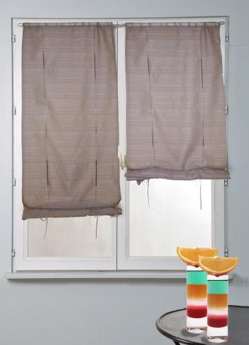 Petits vitrages droits remontables - Taupe - 60 x 160 cm