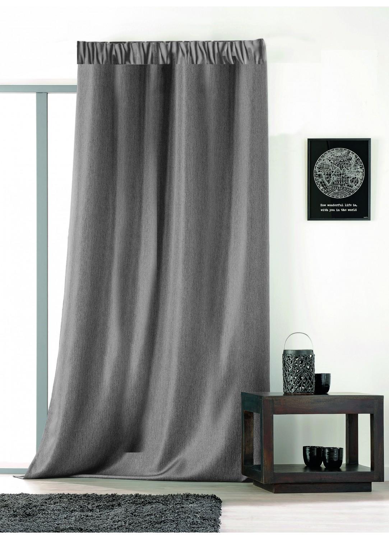 rideau uni avec galon fronceur gris ficelle beige. Black Bedroom Furniture Sets. Home Design Ideas