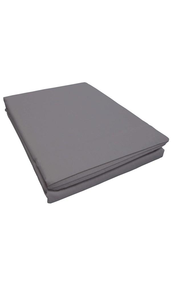 Drap percale 180 x 290 cm uni - Anthracite - 180 x 290 cm