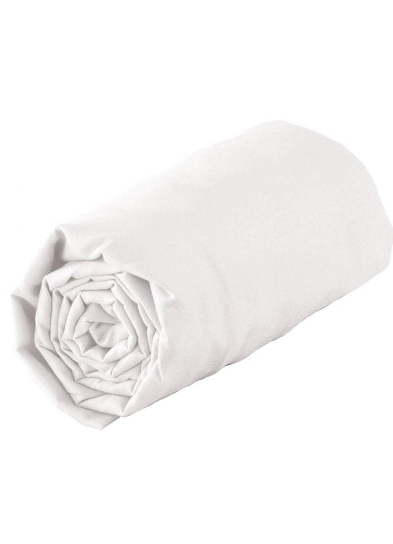 Drap housse tradi bordé biais 80 x 200 cm (Blanc)