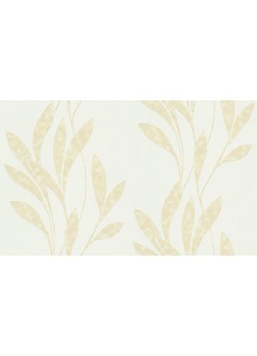 Papier peint motifs Longues feuilles entrelacées verticales - Blanc - 10 m x 0,53 m