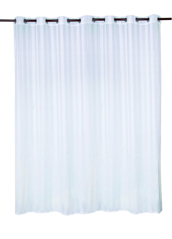 voilage avec rayures en lurex en grande largeur blanc. Black Bedroom Furniture Sets. Home Design Ideas