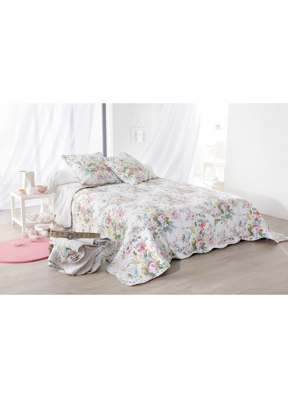 plaid boutis tricia fleuri 150 x 150 cm vert homemaison vente en ligne couvertures et plaids. Black Bedroom Furniture Sets. Home Design Ideas
