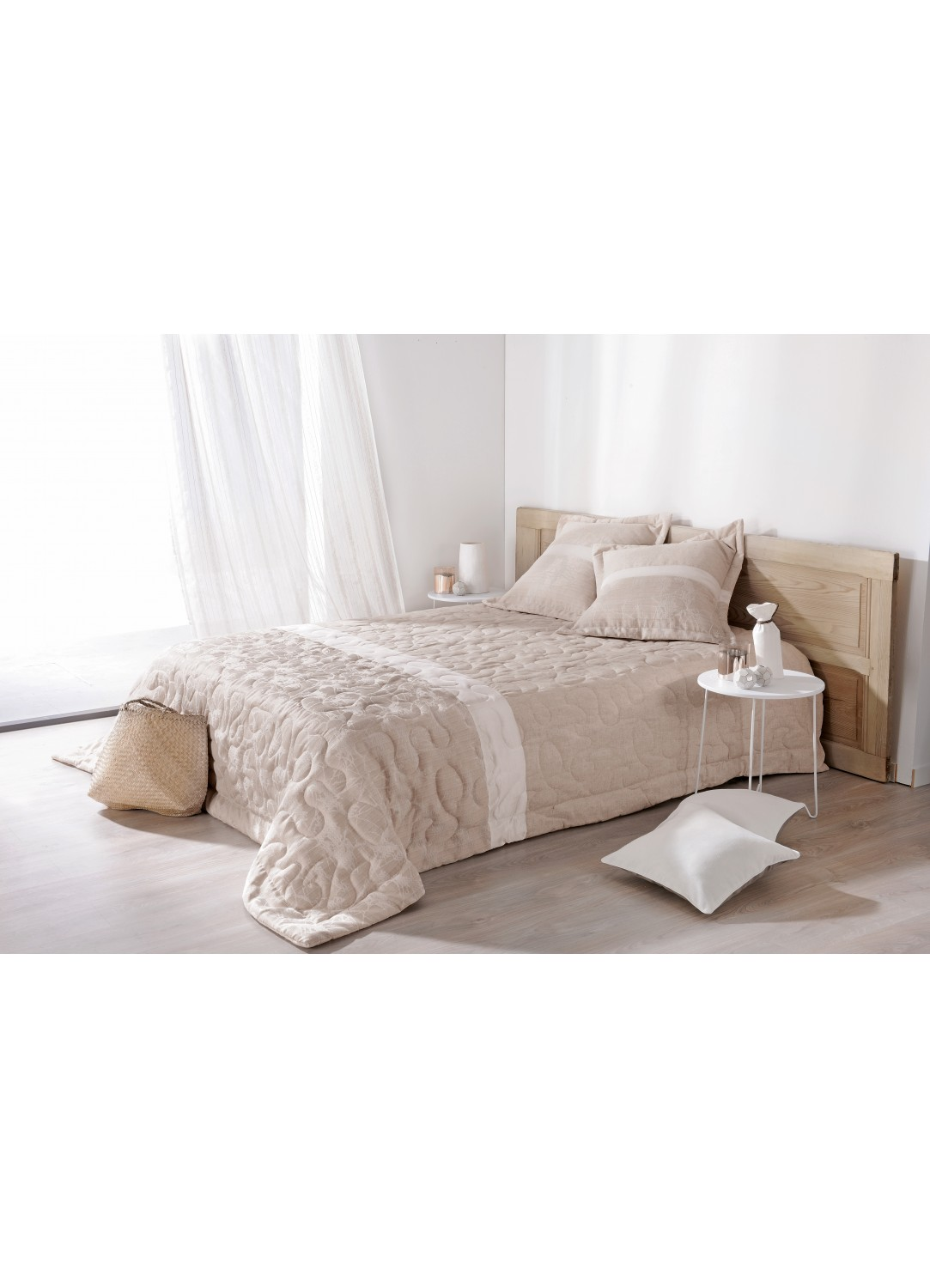 jet de lit ouat capri avec taie assortie beige homemaison vente en ligne couvertures. Black Bedroom Furniture Sets. Home Design Ideas
