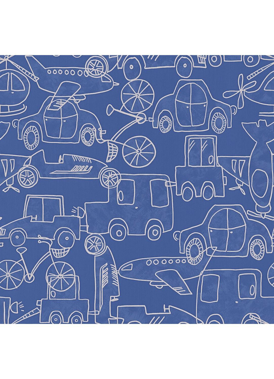 papier peint petit gar on motifs voitures bleu blanc homemaison vente en ligne. Black Bedroom Furniture Sets. Home Design Ideas