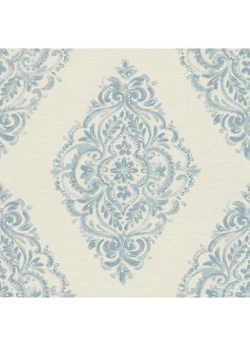Papier peint à l'esprit Baroque forme Médaillon - Bleu - 10 m x 0,53 m