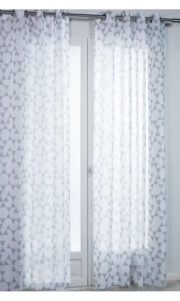 Voilage à oeillets ronds Motifs Géométriques - Gris - 140 x 260 cm