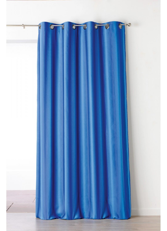 Rideau Bleu Azur Tissé en Jacquard à Rayures Verticales  (bleu azur)