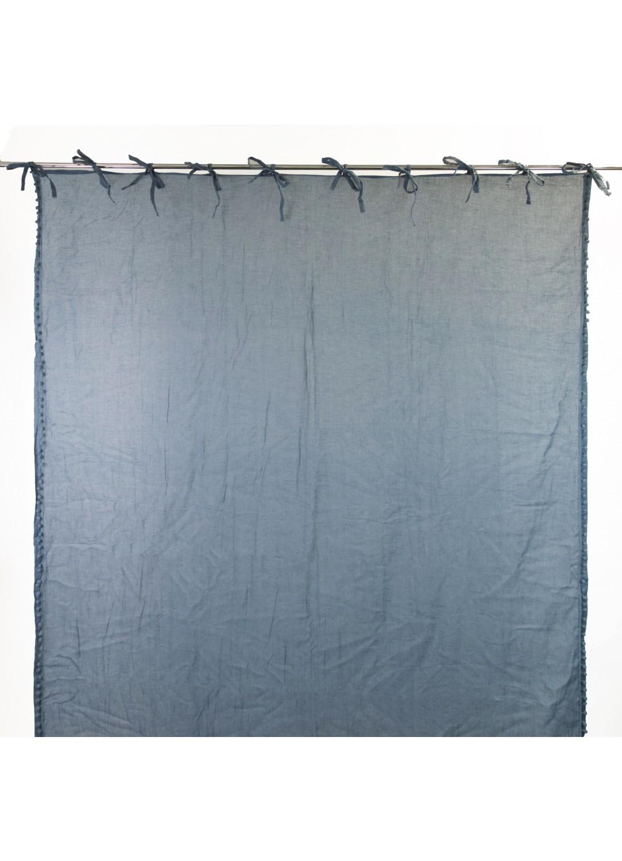 Rideau en 100% Coton Uni à Nouettes (Bleu)
