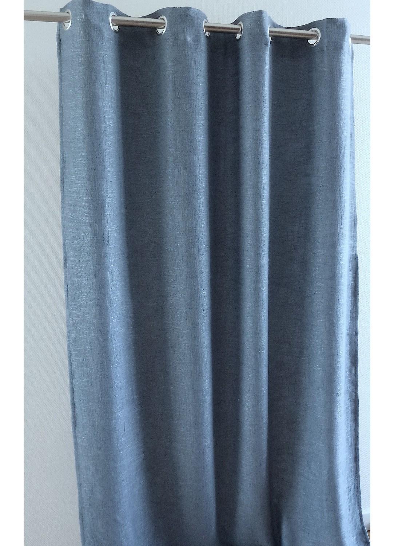 Rideau d'ameublement aspect laine chinée (Bleu)